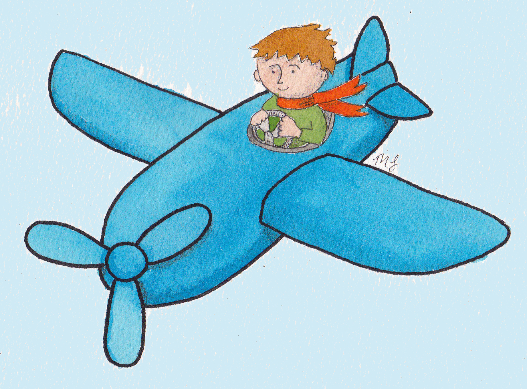 boy on snail girl balloon boy on plane - Small Drawings For Kids