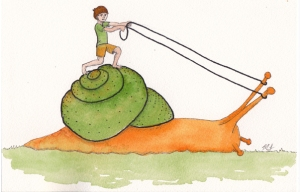 boy on snail